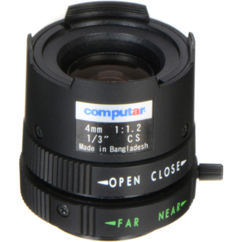 "computar CS Mount 1/3"" 4mm Fixed Focus Manual Iris Lens"