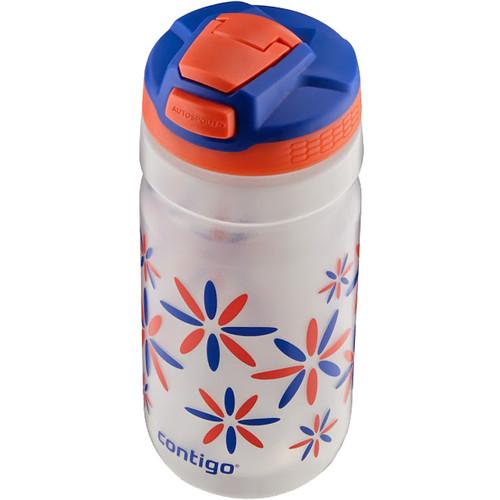 Contigo AUTOSPOUT Squeeze Kids Water Bottle (18 fl oz, Tango Pink w/ Flower Power Graphic)
