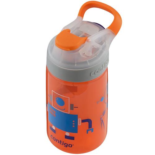 Contigo AUTOSEAL Gizmo Sip Kids Water Bottle (14 fl oz, Nectarine / Robots)