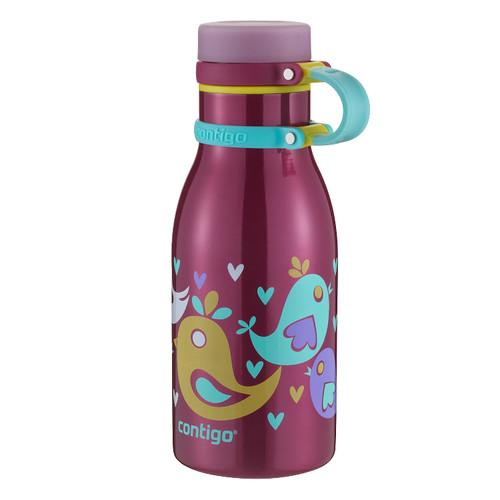 Contigo Maddie Stainless Steel Kids Water Bottle (12 fl oz, Cherry Blossom)