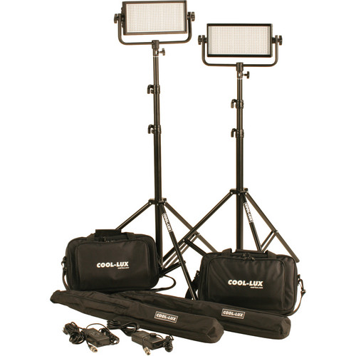 Cool-Lux CL2-1000DSG Daylight PRO Studio LED Spot 2-CL500DSG Kit with V-Mount Battery Plates