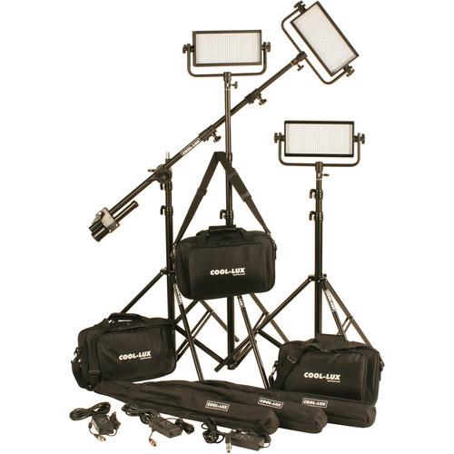 Cool-Lux CL3-1500DSV Daylight PRO Studio LED Spot 3-CL500DSV Kit with V-Mount Battery Plates
