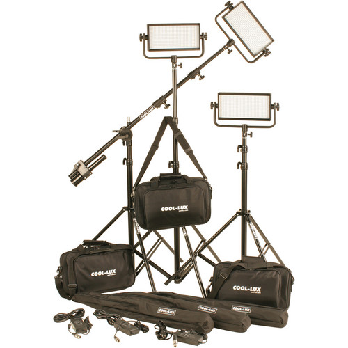 Cool-Lux CL3-1500BSV Bi-Color PRO Studio LED Spot 3-CL500BSV Kit with V-Mount Battery Plates