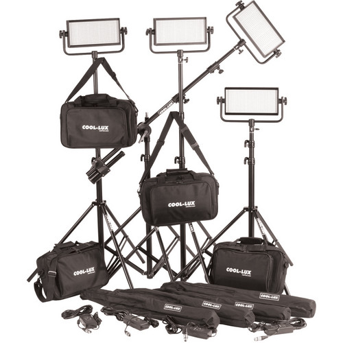 Cool-Lux CL4-2000DSV Daylight PRO Studio LED Spot 4-CL500DSV Kit with V-Mount Battery Plates