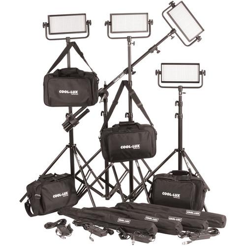 Cool-Lux CL4-2000DSG Daylight PRO Studio LED Spot 4-CL500DSG Kit with Gold Mount Battery Plates