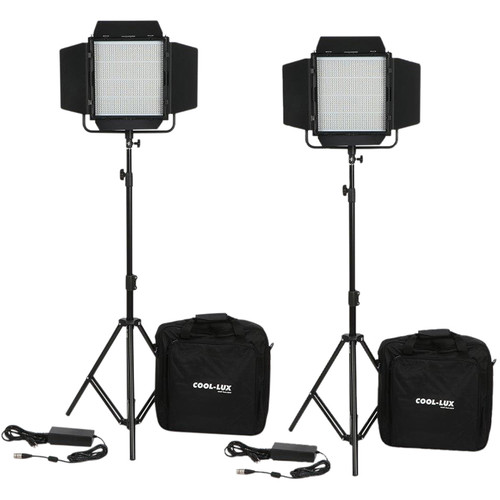 Cool-Lux CL2-2000DSG Daylight PRO Studio LED Spot 2-CL1000DSG Kit with Gold Mount Battery Plates