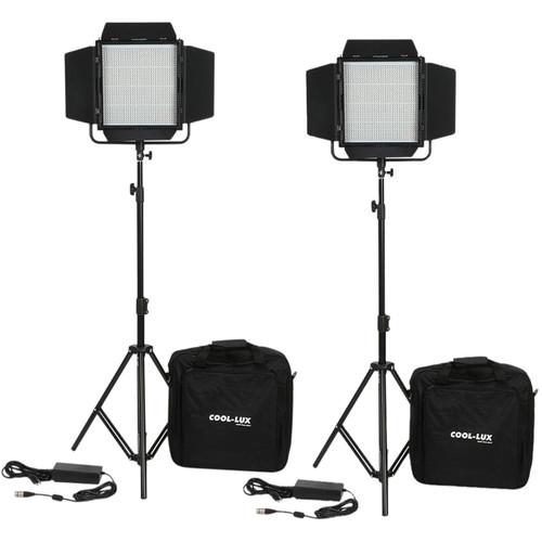 Cool-Lux CL2-2000DSG Daylight PRO Studio LED Spot 2-CL1000DSG Kit with Gold Mount Battery Plates