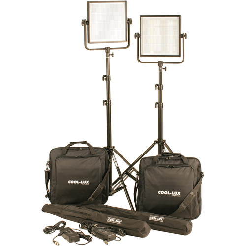Cool-Lux CL2-2000BSV Bi-Color PRO Studio LED Spot 2-CL1000BSV Kit with V-Mount Battery Plates