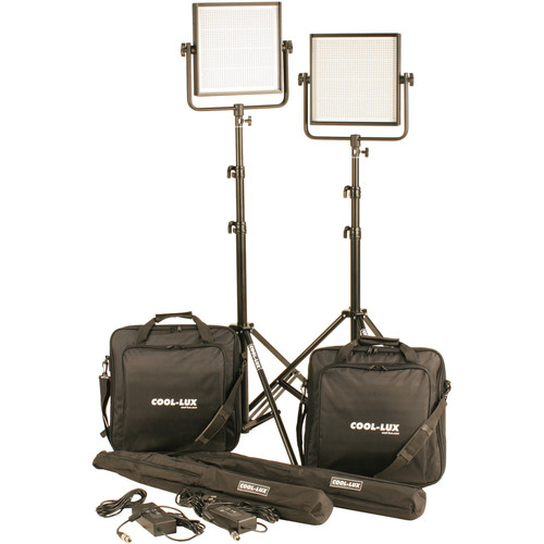 Cool-Lux CL2-2000BSG Bi-Color PRO Studio LED Spot 2-CL1000BSG Kit with Gold Mount Battery Plates