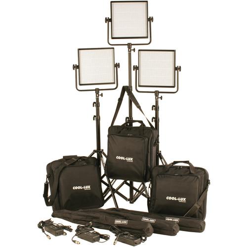 Cool-Lux CL3-3000DSV Daylight PRO Studio LED Spot 3-CL1000DSV Kit with V-Mount Battery Plates