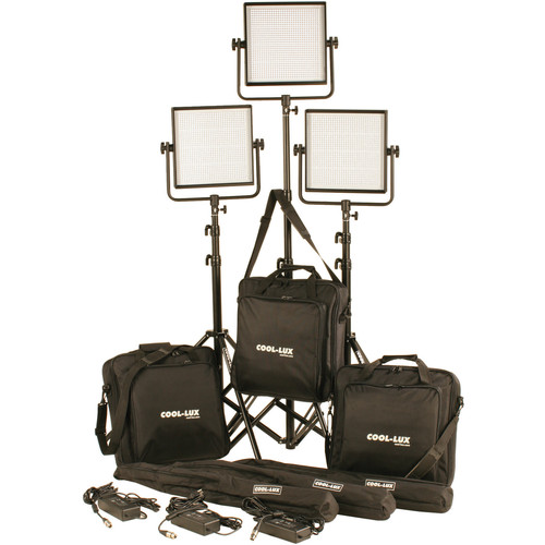 Cool-Lux CL3-3000DSG Daylight PRO Studio LED Spot 3-CL1000DSG Kit with Gold Mount Battery Plates