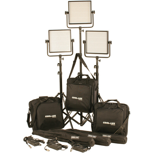 Cool-Lux CL3-3000BSG Bi-Color PRO Studio LED Spot 3-CL1000BSG Kit with Gold Mount Battery Plates