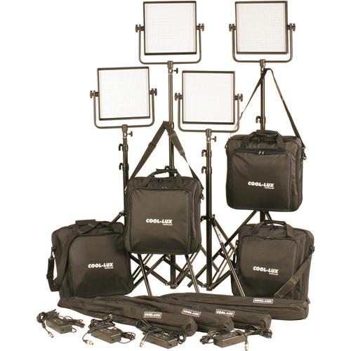 Cool-Lux CL4-4000DSV Daylight PRO Studio LED Spot 4-CL1000DSV Kit with V-Mount Battery Plates