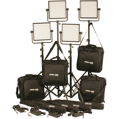 Cool-Lux CL4-4000BSV Bi-Color PRO Studio LED Spot 4-CL1000BSV Kit with V-Mount Battery Plates