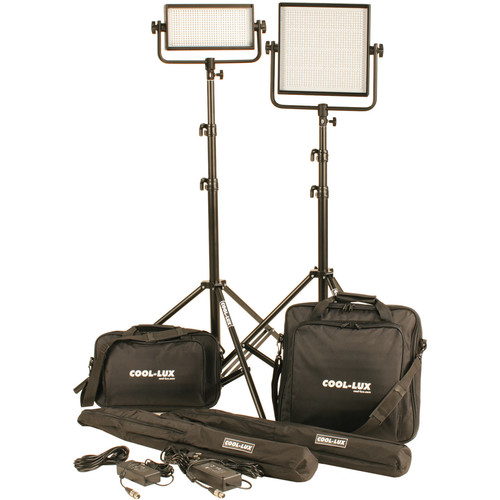 Cool-Lux CL2-1500BSV Bi-Color PRO Studio LED Spot 1-CL500BSV, 1-CL1000BSV Kit with V-Mount Battery Plates