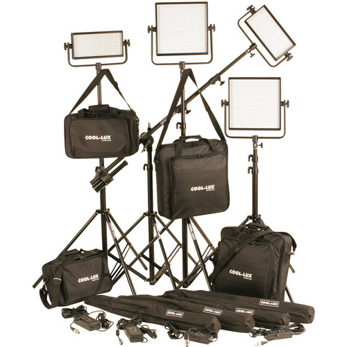Cool-Lux CL4-3000DSV Daylight PRO Studio LED Spot 2-CL500DSV, 2-CL1000DSV Kit with V-Mount Battery Plates