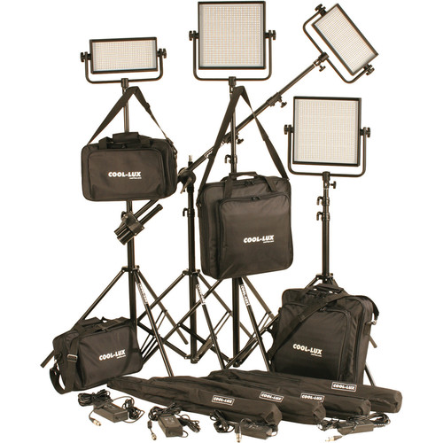 Cool-Lux CL4-3000BSV Bi-Color PRO Studio LED Spot 1-CL500BSV, 2-CL1000BSV Kit with V-Mount Battery Plates