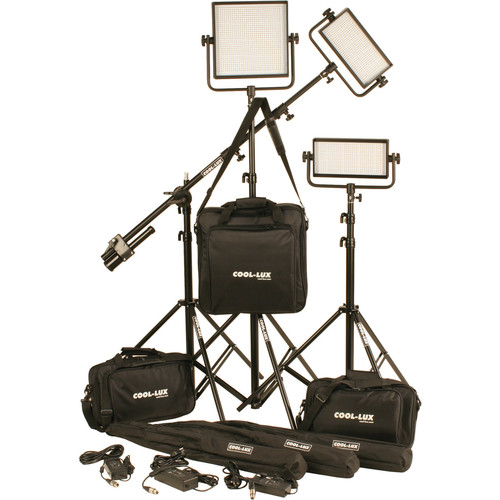 Cool-Lux CL3-2000BSV Bi-Color PRO Studio LED Spot 2-CL500BSV, 1-CL1000BSV Kit with V-Mount Battery Plates