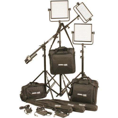 Cool-Lux CL3-2500DSV Daylight PRO Studio LED Spot 1-CL500DSV, 2-CL1000DSV Kit with V-Mount Battery Plates