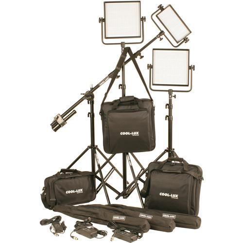 Cool-Lux CL3-2500DSG Daylight PRO Studio LED Spot 1-CL500DSG, 2-CL1000DSG Kit with Gold Mount Battery Plates