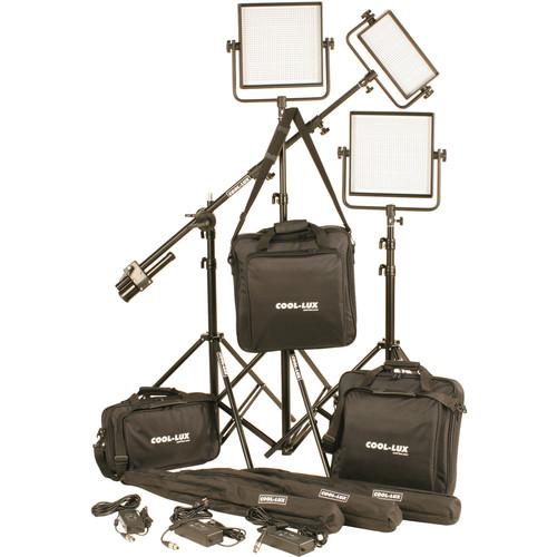 Cool-Lux CL3-2500BSV Bi-Color PRO Studio LED Spot 1-CL500BSV, 2-CL1000BSV Kit with V-Mount Battery Plates