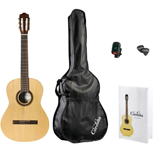 Cordoba CP100 Iberia Series Nylon-String Classical Guitar Pack with Tuner, Picks & Gig Bag