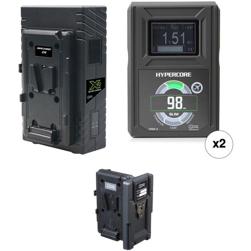 Core SWX 2 x Hypercore Slim 98Wh Battery Kit with Hot Swap Plate & Dual Charger (V-Mount)