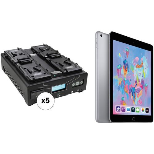"Core SWX 5 x Core SWX 4-Bay VoltBridge Fleet Micro Digital Chargers Kit with 9.7"" iPad (V-Mount)"