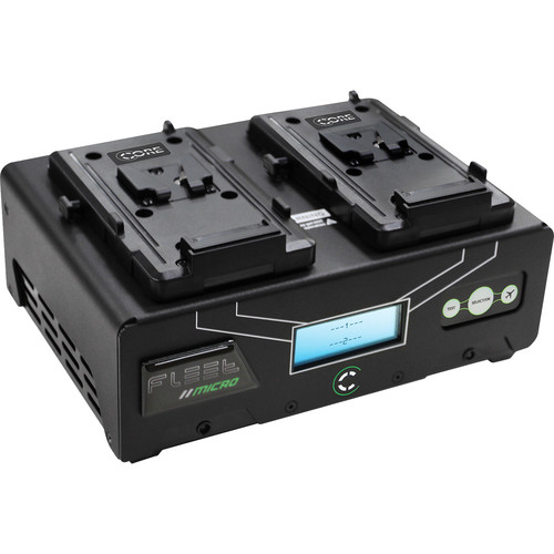 Core SWX Fleet Micro 3A Digital Dual Charger for V-Mount Batteries Kit with Two HyperCore Slim RED Batteries