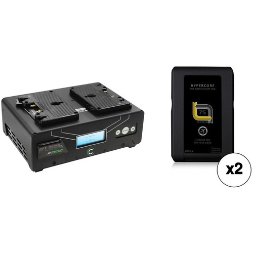 Core SWX Fleet Micro 3A Digital Dual Charger for Gold Mount Batteries Kit with Two HyperCore Slim 7 Batteries