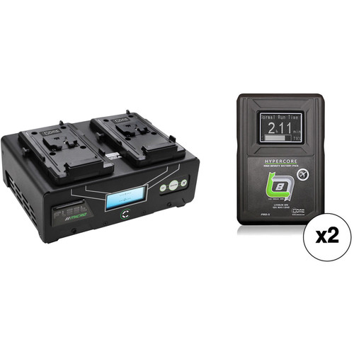 Core SWX Fleet Micro 3A Digital Dual Charger for V-Mount Batteries Kit with Two HyperCore Slim 8 Batteries