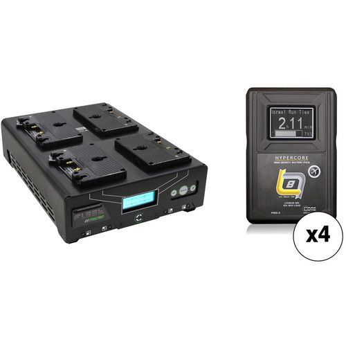 Core SWX Fleet Micro 3A Digital Quad Charger for Gold Mount Batteries Kit with Four HyperCore Slim 8 Batteries