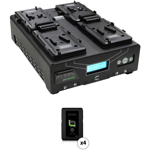 Core SWX Fleet Micro 3A Digital Quad Charger for V-Mount Batteries Kit with Four HyperCore Slim 7 Batteries