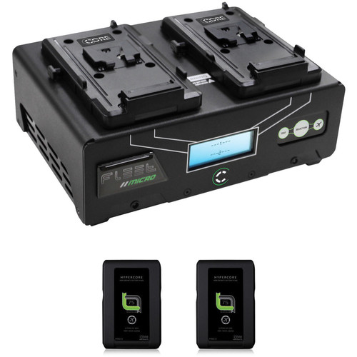 Core SWX Fleet Micro 3A Digital Dual Charger for V-Mount Batteries Kit with Two HyperCore Slim 7 Batteries