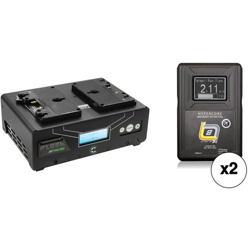 Core SWX Fleet Micro 3A Digital Dual Charger for Gold Mount Batteries Kit with Two HyperCore Slim 8 Batteries
