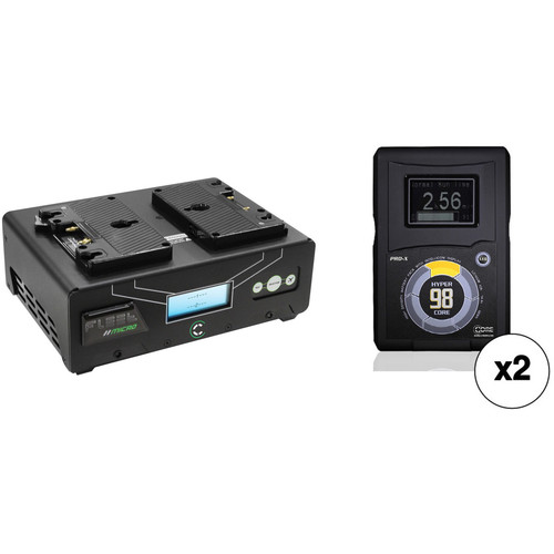 Core SWX Fleet Micro 3A Digital Dual Charger for Gold Mount Batteries Kit with Two HyperCore 98Wh Batteries
