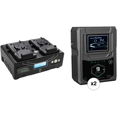 Core SWX Helix 9 Mini 2-Battery Kit with 2-Position Charger (V-Mount)