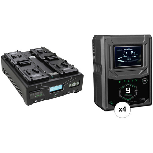 Core SWX Helix 9 Mini 4-Battery Kit with 4-Position Charger (V-Mount)