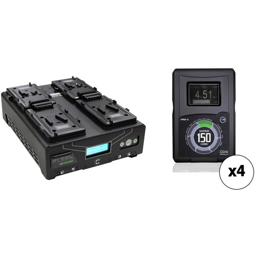 Core SWX HyperCore 150 4-Battery Kit with Fleet Micro Charger (V-Mount)