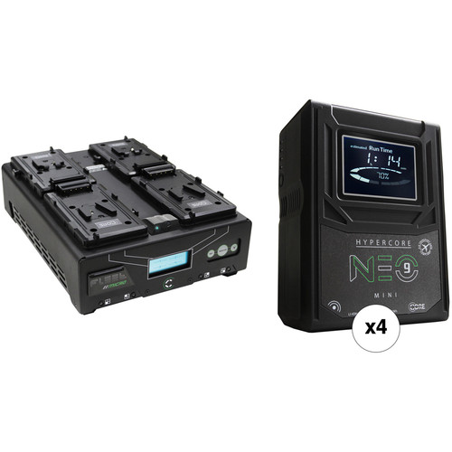 Core SWX HyperCore NEO 9 Mini 4-Battery Kit with Fleet Micro 4-Position Charger (V-Mount)