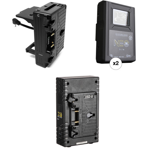 Core SWX Hypercore NEO Slim 2-Battery Kit with Sony FX9 Plate & 2-Bay Charger (Gold Mount)