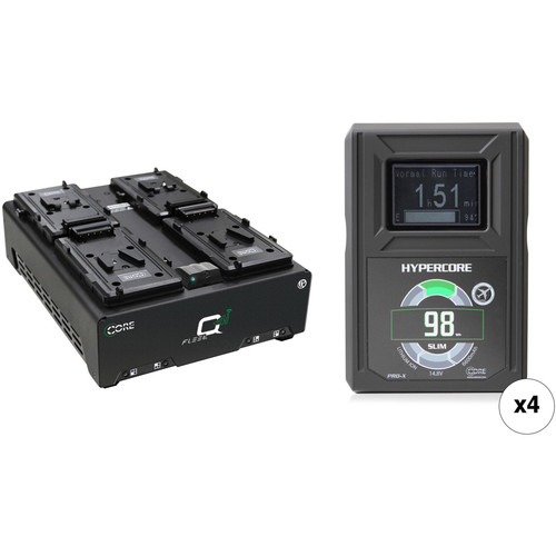 Core SWX HyperCore Slim 4-Battery Kit with 4-Position Charger (V-Mount)