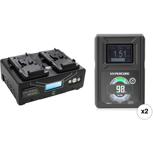Core SWX HyperCore Slim 98 2-Battery Kit with Fleet DM2A Charger (V-Mount)