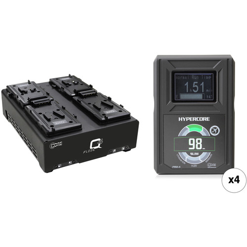 Core SWX HyperCore Slim 98 4-Battery Kit with Fleet Q Charger (V-Mount)
