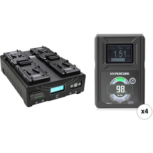 Core SWX HyperCore Slim 98 4-Battery Kit with Fleet Micro Charger (V-Mount)