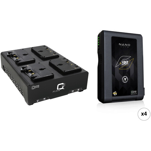 Core SWX Nano 4-Battery Kit with Fleet Q Charger (Gold Mount)