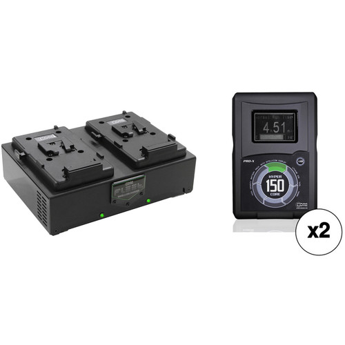 Core SWX Two HyperCore 150 Batteries & Fleet Dual Charger Kit (V-Mount)