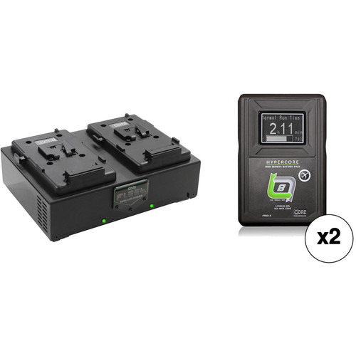 Core SWX Two HyperCore Slim HC8 Batteries & Fleet Dual Charger Kit (V-Mount)