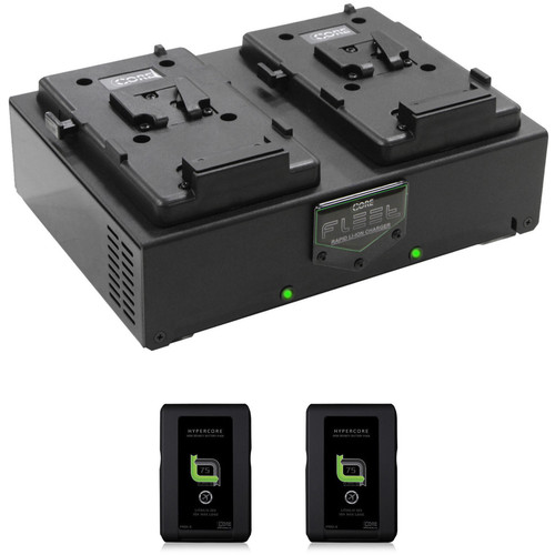 Core SWX Two HyperCore Slim Batteries & Fleet Dual Charger Kit (V-Mount)
