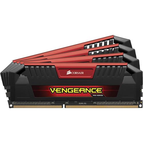 Corsair Vengeance Pro 32GB (4 x 8GB) DDR3 DRAM 1600 MHz C9 Memory Kit (Red)